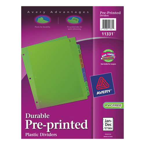 Avery Pre-Printed Jan-Dec Dividers (AVE11331) - 12 Tabs - Assorted Colours