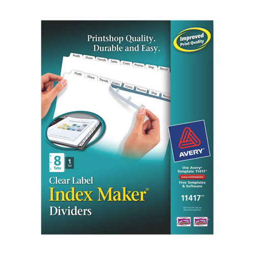 Intercalaires Index Maker d'Avery (AVE11417) - Paquet de 8 - Blanc