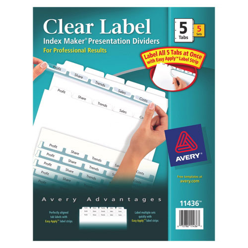 Avery Index Maker Easy Apply Clear Label Divider (AVE11436) - 5 Tabs - 5 Pack - White