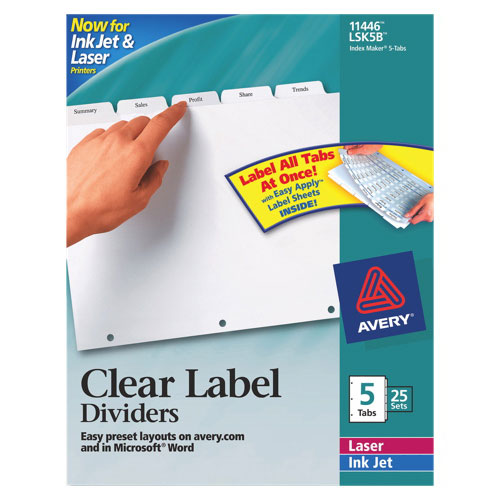 Avery Index Maker Easy Apply Clear Label Divider (AVE11446) - 5 Tabs - 25 Pack - White