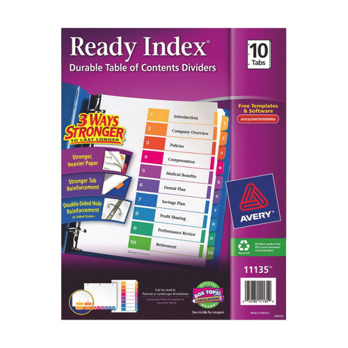 Avery Ready Index Table Of Contents Dividers (AVE11135) - 10 Pack - Assorted