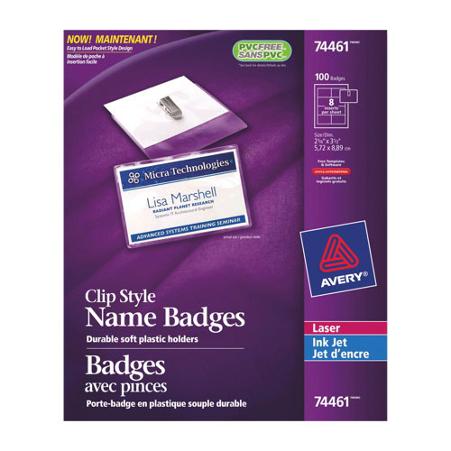 Badges avec pinces d'Avery (AVE74461) - Paquet de 100 - Transparent