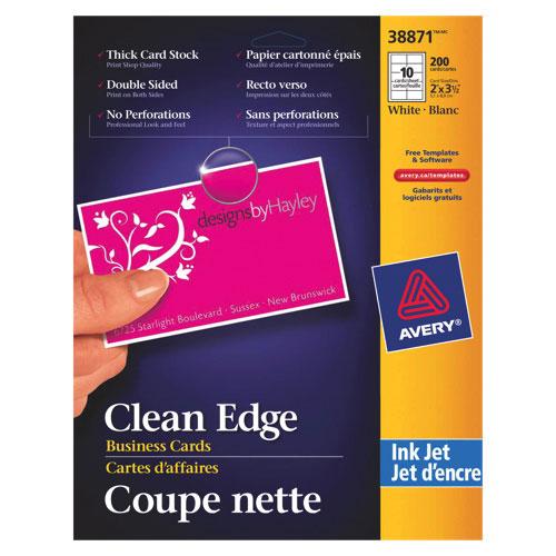 Cartes professionnelles Clean Edge d'Avery (AVE38871) - Paquet de 150 - Blanc