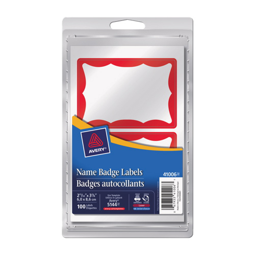 Avery Name Badge Labels (AVE41006) - 100 Pack - Red