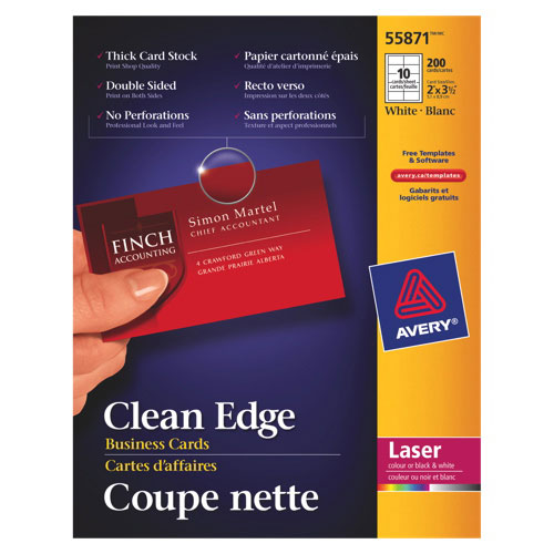 Avery Clean Edge Business Cards (AVE55871) - 150 Pack - White