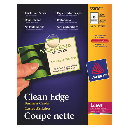 Avery Clean Edge Business Cards (AVE55876) - 150 Pack - White