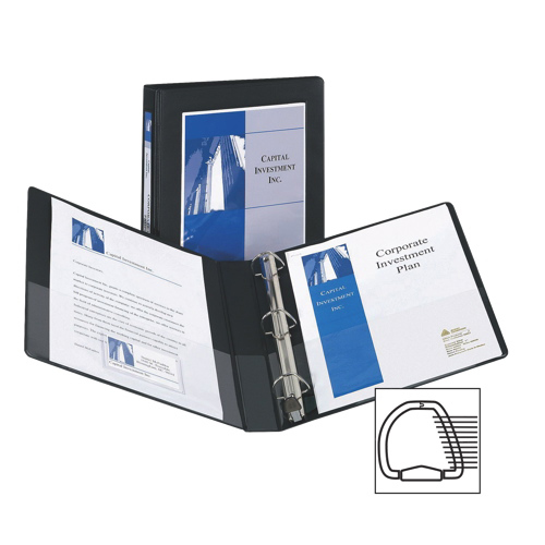 """Avery 1"""" Framed View One Touch D-Ring Presentation Binder (AVE68054) - Black"""