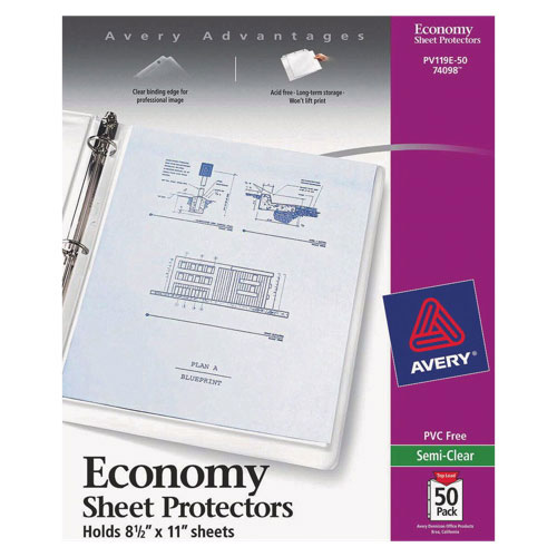 Avery Economy Semi-Clear Sheet Protector (AVE74098) - 50 Pack - Clear