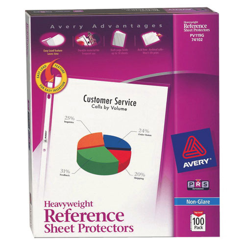 Avery Heavyweight Nonglare Reference Sheet Protectors (AVE74102) - 100 Pack - Clear
