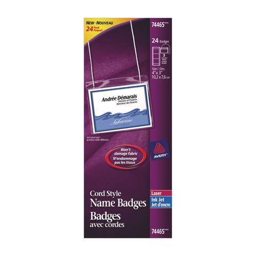 Badges avec cordes d'Avery (AVE74465) - Paquet de 24 - Blanc