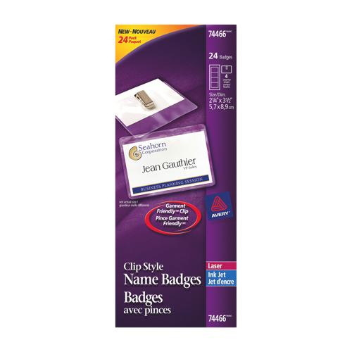 Jeu de badges avec pince d'Avery (AVE74465) - Paquet de 24 - Blanc