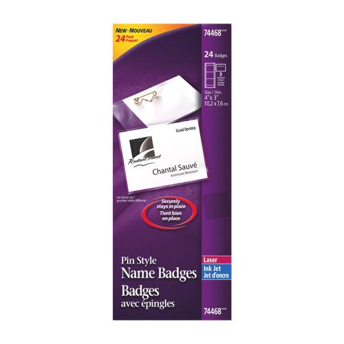 Jeu de badges avec épingle d'Avery (AVE74468) - Paquet de 24 - Blanc