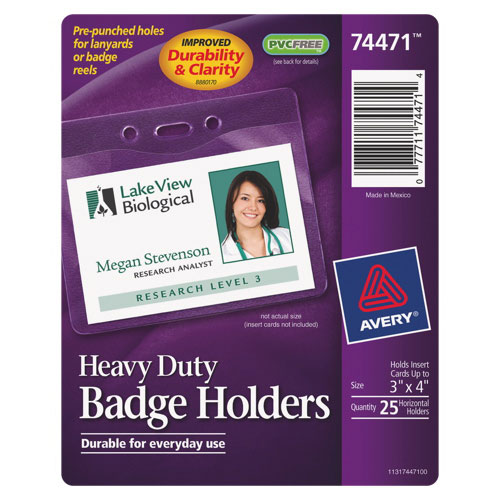 Avery Heavy-Duty Badge Holder (AVE74471) - 25 Pack - Clear