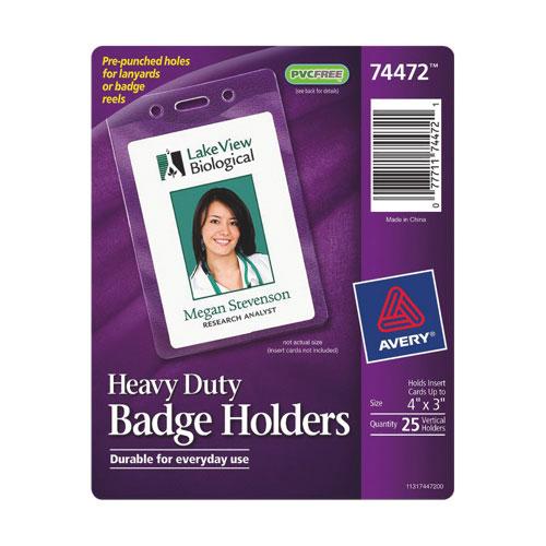 Porte-insigne robuste d'Avery (AVE74472) - Paquet de 25 - Transparent