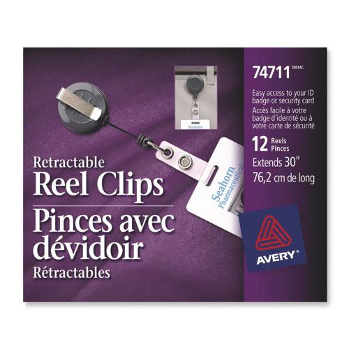 Pince à dévidoir rétractable d'Avery (AVE74711) - Paquet de 12 - Noir