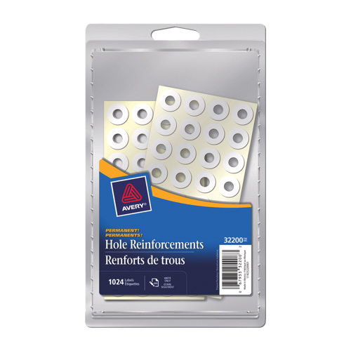 Avery Hole Reinforcement Label (AVE32200) - 1024 Pack - White
