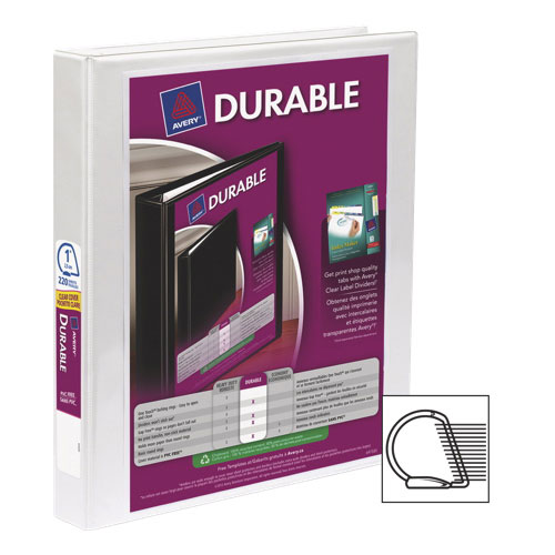 """Avery Durable 1"""" Slant D-Ring View Binder (AVE34002) - White"""