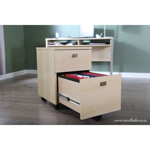south shore interface mobile cabinet - natural maple : filing