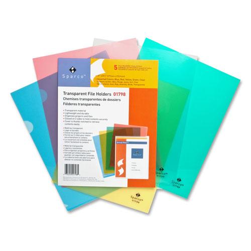 Sparco Transparent File Holder (SPR01798) - Letter - 5 Pack - Assorted