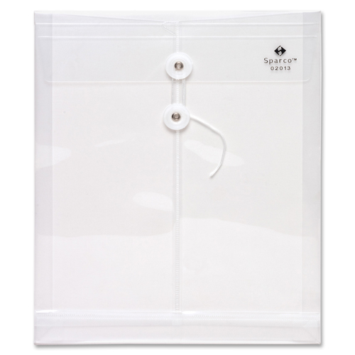 Sparco String & Button Poly Hide Envelope (SPR02014) - Letter - Clear