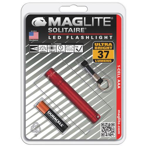 Lampe de poche à DEL de 37 lumens Solitaire de Maglite (SJ3A036) - Rouge
