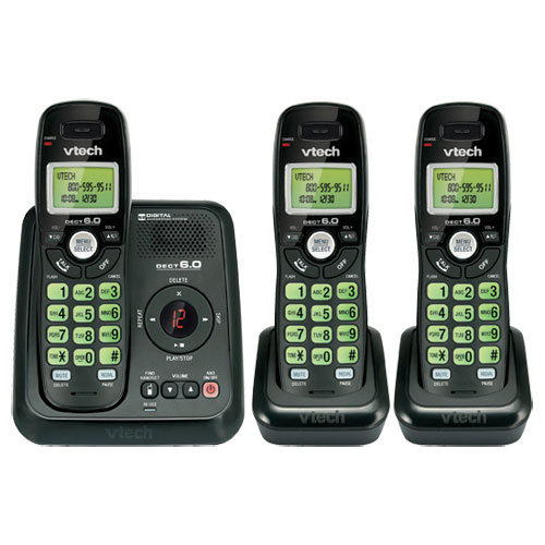 VTech DECT 6.0 3-Handset Cordless Phone With Answering ...