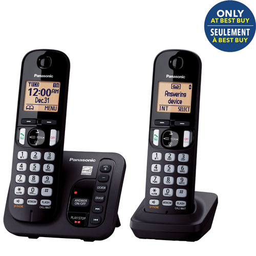 panasonic 2 handset dect 6 0 cordless phone with answering machine kxtgc222b only at best. Black Bedroom Furniture Sets. Home Design Ideas