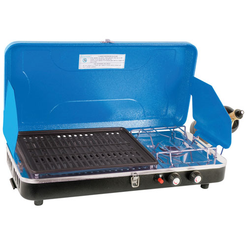 World Famous Propane Camping Stove with Grill - 10,000 BTU - Blue