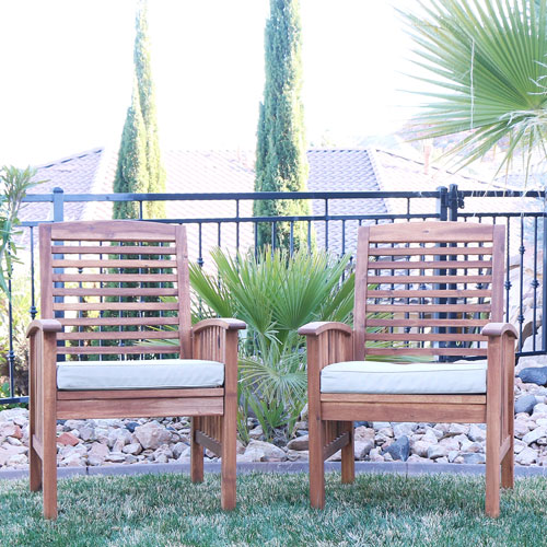 Traditional Patio Chair - Set of 2 - Brown