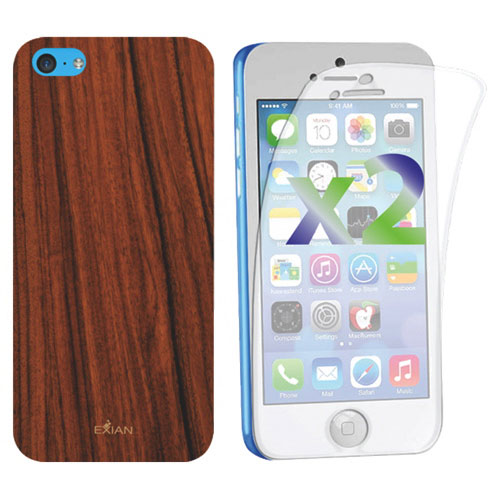 Exian iPhone 5C Fitted Soft Shell Case - Brown