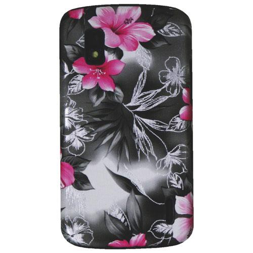 Étui-coque rigide ajusté d'Exian pour Nexus 4 - Noir-rose