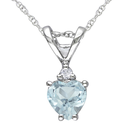 Modern 10K White Gold Chain and Blue Heart Aquamarine and 0.02ct I1-I2 White Diamond Pendant