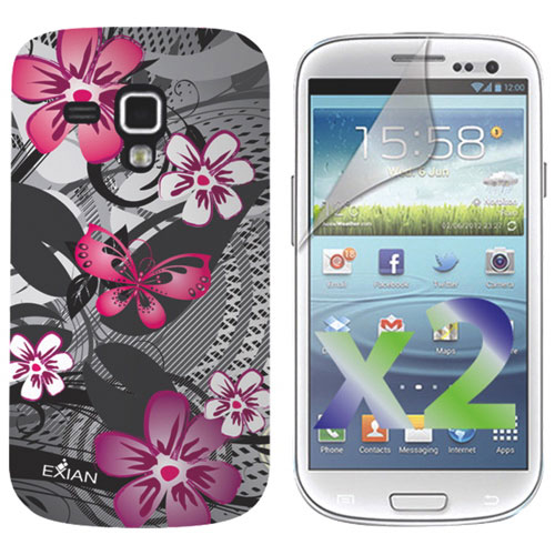 Exian Samsung Ace 2x Floral Soft Shell Case With Screen Protector - Pink / Black
