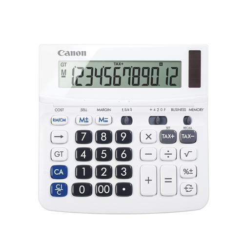 Calculatrice simple de bureau à double alimentation de Canon (9607B001) - Blanc