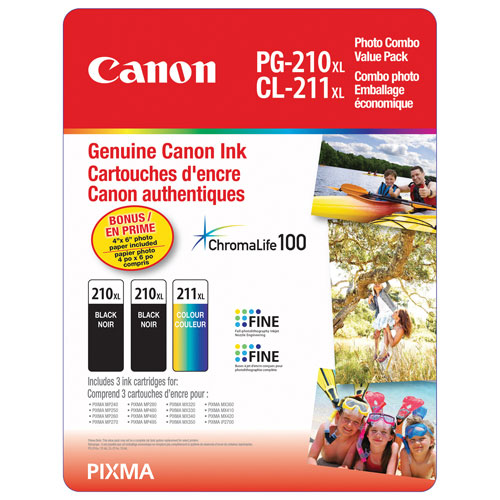 Canon PG-210XL/CL-211XL Black/Colour Ink (2973B011) - 3 Pack