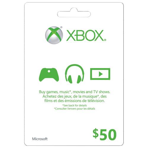 Carte Xbox Live de 50 $