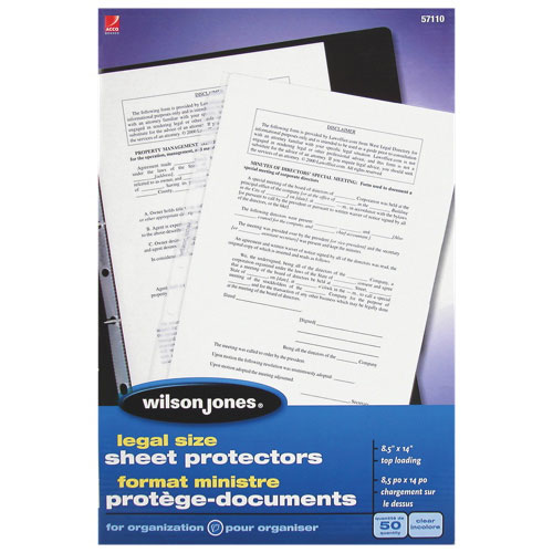 Wilson Jones Legal Size Sheet Protectors (WLJ57110) - 50 Pack - Clear