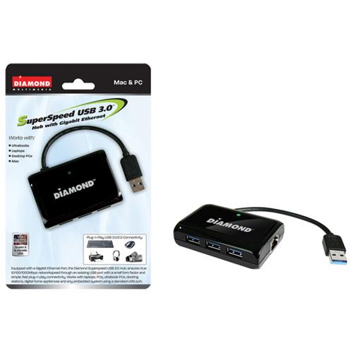 Diamond SuperSpeed USB 3.0 Three Port Hub with Gigabit Ethernet Port (USB303HE)
