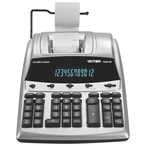 Calculatrice imprimante 2 couleurs à écran de 12 chiffres de Victor (VCT1240-3A) - Argenté