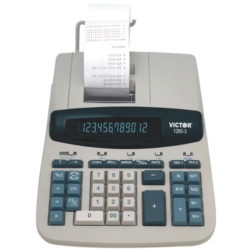 Victor 12-Digit 2 Colour Desktop Printing Calculator (VCT1260-3) - White