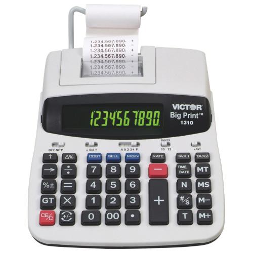 Calculatrice imprimante à 10/12 chiffres, gros caractères de Victor (VCT1310) - Blanc