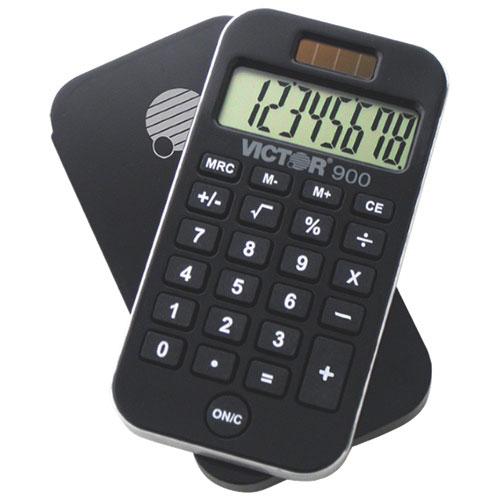 Calculatrice portative de poche à 8 chiffres de Victor (VCT900) - Noir