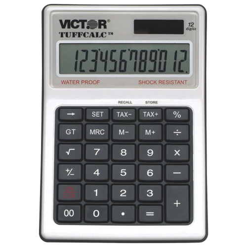 Victor 12-Digit Tuffcalc Water-Resistant/Shock-Resistant Business Calculator (VCT99901) - Silver
