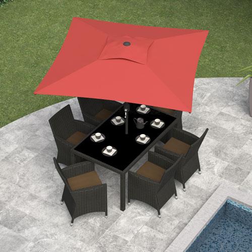 CorLiving 6.5 ft. Square Patio Umbrella - Wine Red