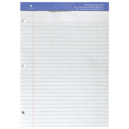 Sparco Letter-Size Legal Note Pad (SPRW1011-3HP) - White