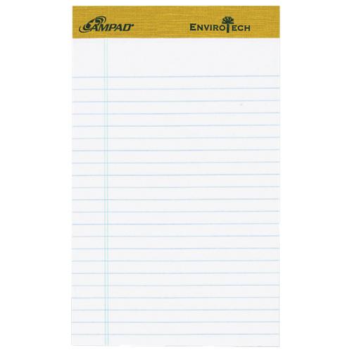 Bloc-notes format légal Jr. Ampad Envirotech d'Esselte (ESS40112) - Paquet de 6 - Blanc