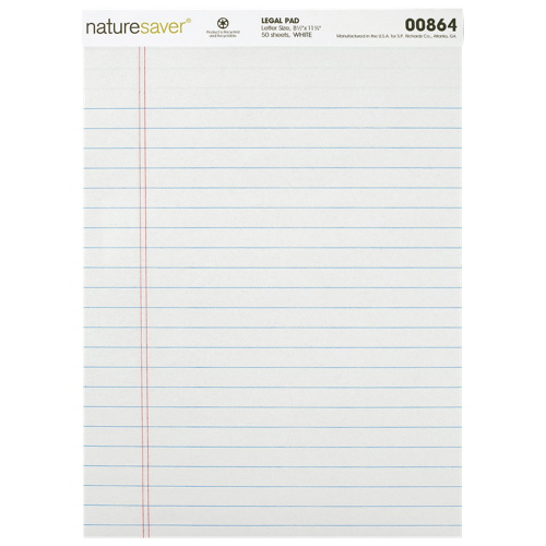 Nature Saver 100% Recycled Legal Note Pad (NAT00864) - White