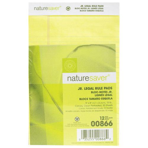 Bloc-notes format légal junior 100% recyclé de Nature Saver (NAT00866) - Paquet de 12 - Jaune
