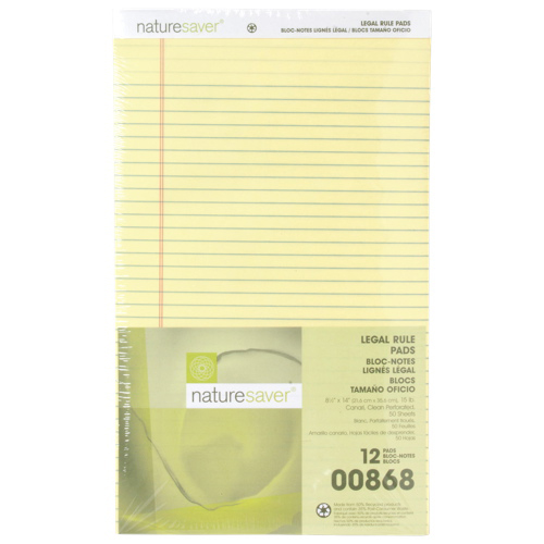 Nature Saver 100% Recycled Legal Note Pad (NAT00868) - 12 Pack - Canary