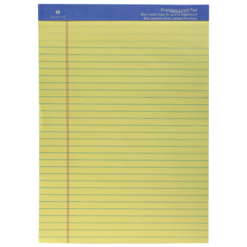 Sparco Premium Grade Legal Note Pad (SPR1011) - Yellow